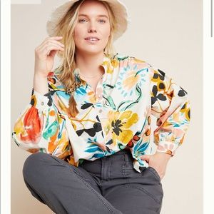 Anthropologie Crisanta Colorful Floral Blouse Top